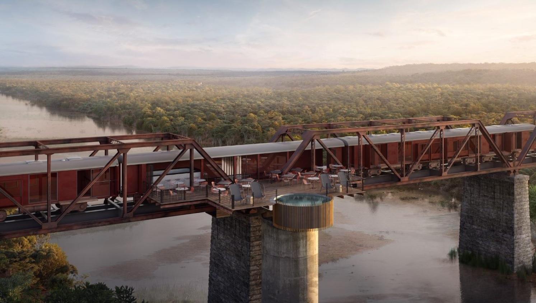 Safari at Kruger Shalati:  Train on a Bridge